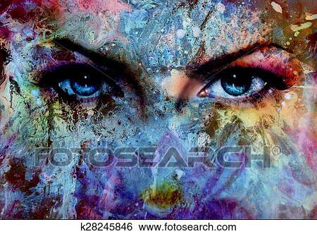 Peinture Dans L Oeil banque d'illustrations - femmes, yeux, et, peinture, couleur, effet