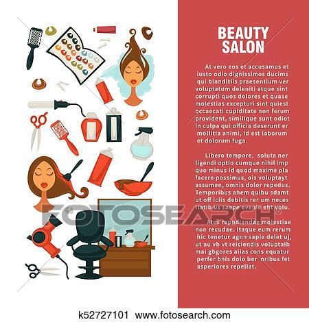 Friseur Schönheit Salon Vektor Haar Färbung Oder Haricut