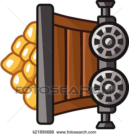 Clip Art Of Mine Cart With Gold K21895688