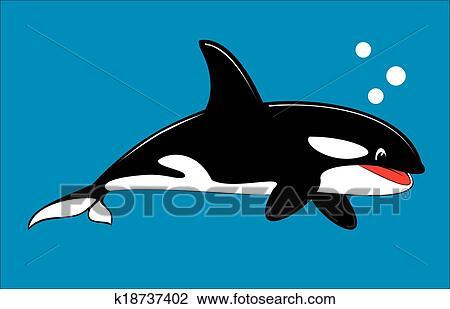 Orca かわいい シャチ クリップアート切り張りイラスト絵画集