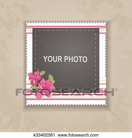 284af8b1a68f Design photo frame on nice background. Decorative template for baby