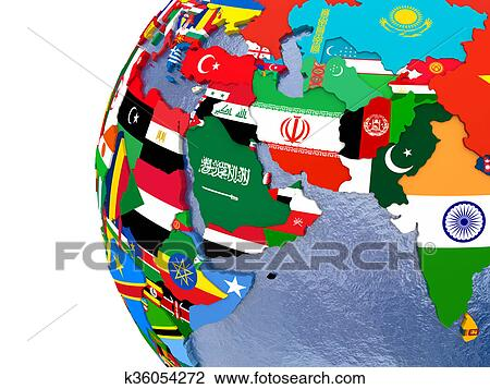 Political Middle East Map Clip Art K36054272