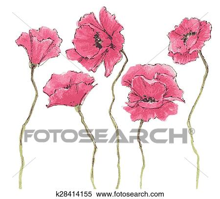 Clipart of poppy flowers watercolor k28414155 search clip art poppy flowers watercolor mightylinksfo