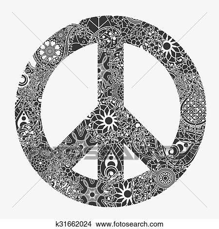 Simbolo Paz Redondo Pacifism Sinal Clipart K31662024 Fotosearch
