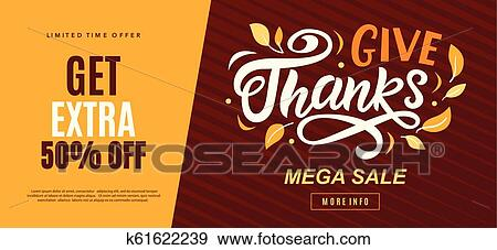 Thanksgiving Day Sale Web Banner Template Give Thanks Promo Offer Clip Art K61622239 Fotosearch