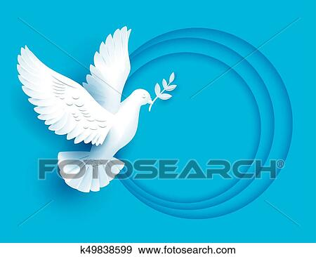 Clip Art Of White Dove Holds Twig Symbol Of Peace K49838599 Search