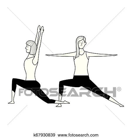 Women Yoga Poses Black And White Clip Art K67930839 Fotosearch
