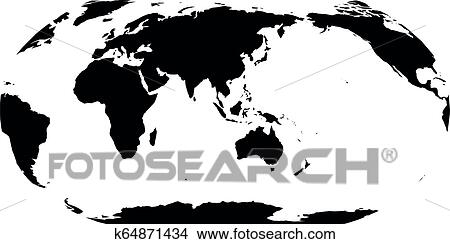 World Map in Robinson Projection. Asia and Australia ...
