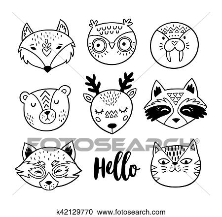 Black And White Hand Drawn Doodle Animal Faces Line Art