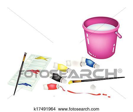 Couleur Peinture Pots Et Palette à Rose Seau Clipart