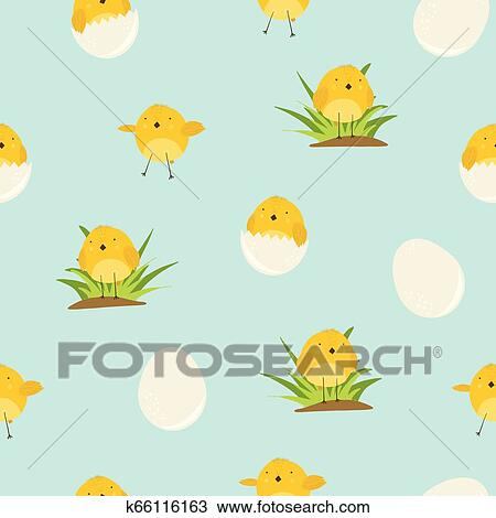 Cute Blue Pattern With Cartoon Yellow Chickens Clipart