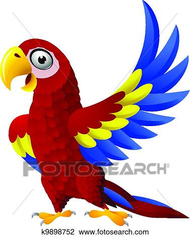 clipart of detailed funny macaw bird cartoon k9898752 search clip rh fotosearch com scarlet macaw clipart scarlet macaw clipart