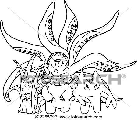Clipart - färbung, book:, gruselig, karikatur, monster k22255793 ...