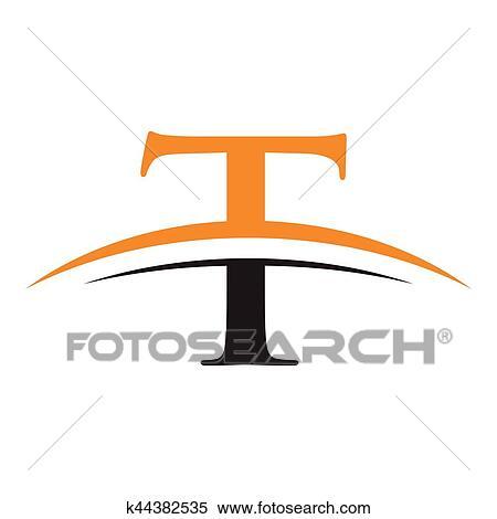 Initiale Lettre T Logo à Swoosh Orange Noir Clipart