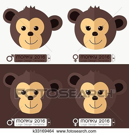clipart of monkey face male and female calligraphy vector 2016 new