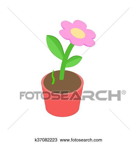 Drawing of pink flower in a pot icon isometric 3d style k37082223 drawing pink flower in a pot icon isometric 3d style fotosearch search mightylinksfo