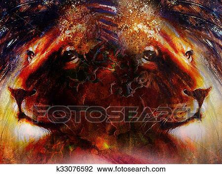 Portrait Lion Figure Profil Portrait Sur Coloré Résumé Plume Modèle Arrière Plan Résumé Couleur Collage à Taches Dessin
