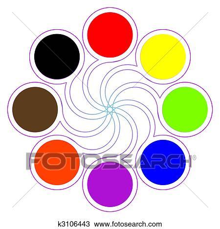 Rond Colorez Palette à Huit Fondamental Couleurs Dessin