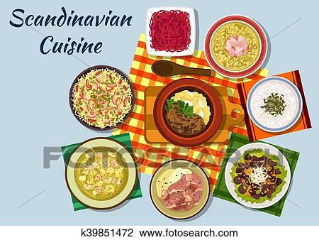 Clipart Of Scandinavian Cuisine Traditional Lunch Dishes K39851472