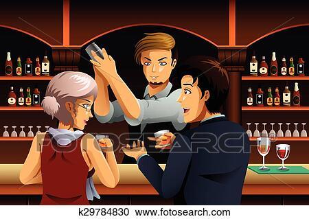 恋人 バーで で バーテンダー クリップアート切り張り