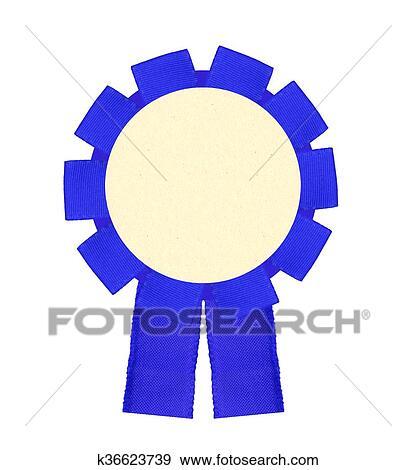 stock photograph of blank blue award winning ribbon rosette isolated
