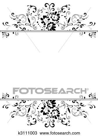 Clipart - blumen-, rahmen, in, schwarz weiß k3111003 - Suche Clip ...