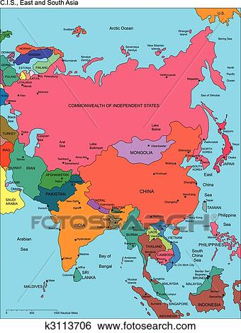 Regional Map Of Asia.Comonwealth Of Independent States Russia And Asia Names Clip Art