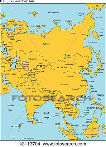 Regional Map Of Asia.Comonwealth Of Independent States Russia And Asia Names Iskarpa