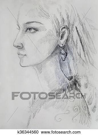 Colección De Ilustraciones Dibujo A Lápiz En Papel Indio Mujer