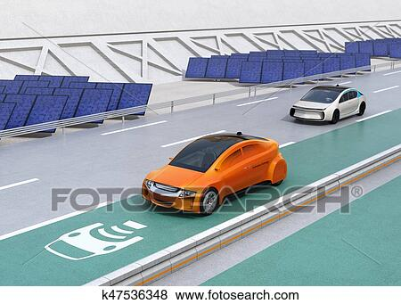 Stock Ilration Electric Car Driving On The Wireless Charging Lane Of Highway Fotosearch