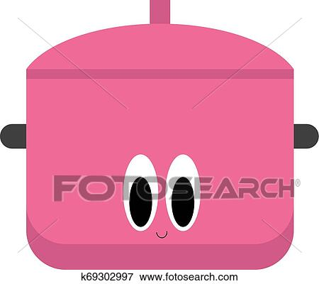 Emoji Of A Smiling Saucepan In Lovely Pink Vector Or Color