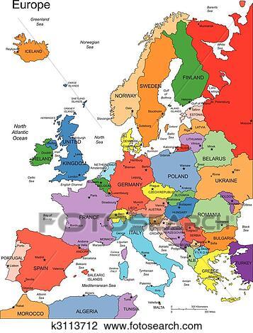 Europa Met Editable Landen Namen Clipart K3113712 Fotosearch