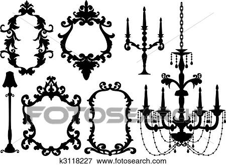 Clip art of frames and chandelier k3118227 search clipart antique picture frames and crystal chandelier silhouette vector aloadofball Images