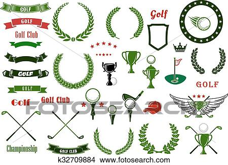 Clipart - golf, y, golfing, deporte, elementos, o, artículos ...