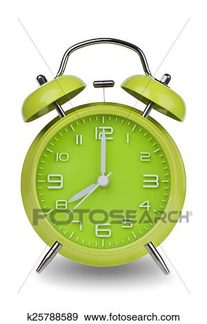 Stock Photograph Of Green Alarm Clock With Hands At 8 Am Or Pm