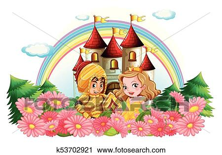 knight and princess in flower garden clipart k53702921 fotosearch fotosearch