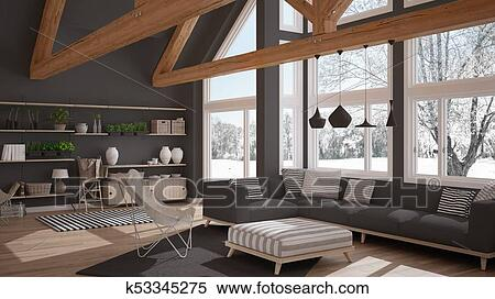 Living Room Of Luxury Eco House Parquet Floor And Wooden Roof Trusses Panoramic Window On Winter Meadow Modern White And Gray Interior Design Stock Illustration K53345275 Fotosearch