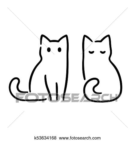 Minimal Cat Drawing Clip Art K53634168 Fotosearch
