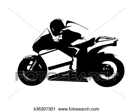 Clipart Of Motorcycle Vector Illustration Abstract Isolated Road