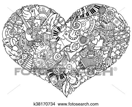 clipart of music theme hand drawn music heart doodle heart with