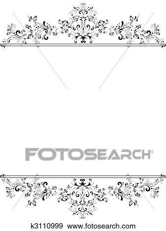 Clip Art - senkrecht, altmodisch, blumen-, rahmen, in, schwarz weiß ...