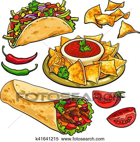 clipart of set of traditional mexican food burrito taco nachos rh fotosearch com mexican food clip art images mexican food clipart black and white