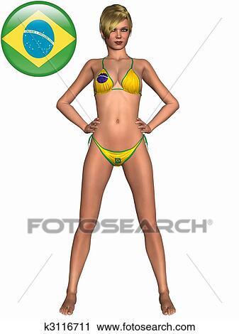 Sexy Mädchen Bikini Mit Fahne Clip Art K3116711 Fotosearch