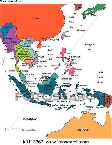 Regional Map Of Asia.Southeast Asia With Editable Countries Names Clip Art