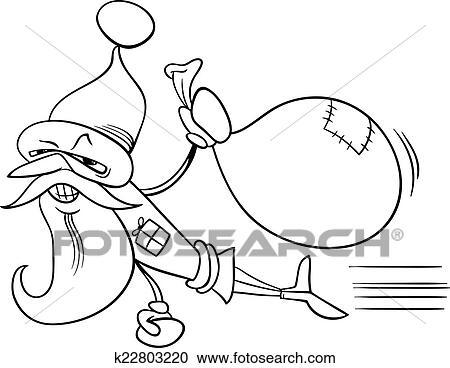 Superhero Santa Cartoon Coloring Page Clipart K22803220 Fotosearch