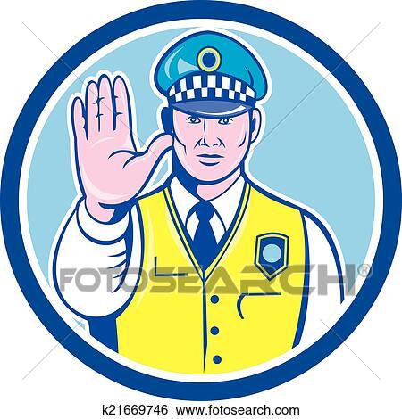 clip art of traffic policeman hand stop sign circle cartoon rh fotosearch com traffic clipart traffic clipart gif