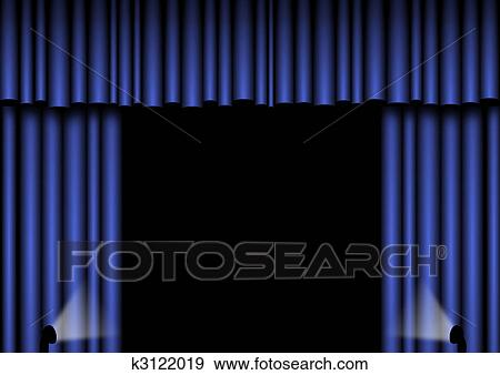 stock illustraties blauwe gordijnen open fotosearch zoek vector clipart tekeningen