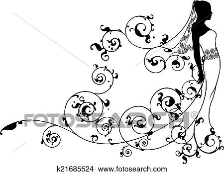 Bride Bridal Dress Silhouette Abstract Clipart K21685524
