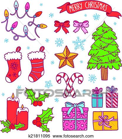 cartoon christmas symbols collection presents ribbons candies lights and a christmas tree vector illustration