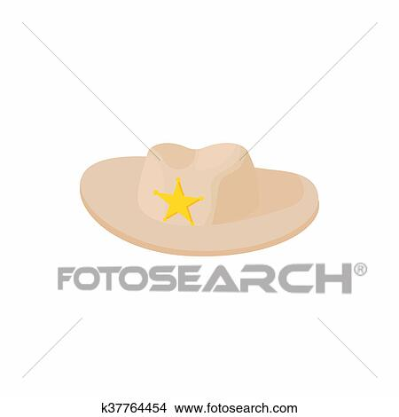 Desenho - chapéu vaqueiro, com, estrela, ícone, caricatura, estilo. Fotosearch - Busca de Ilustrações Clip Arte, Posters de Parede, e Vetores Gráficos EPS